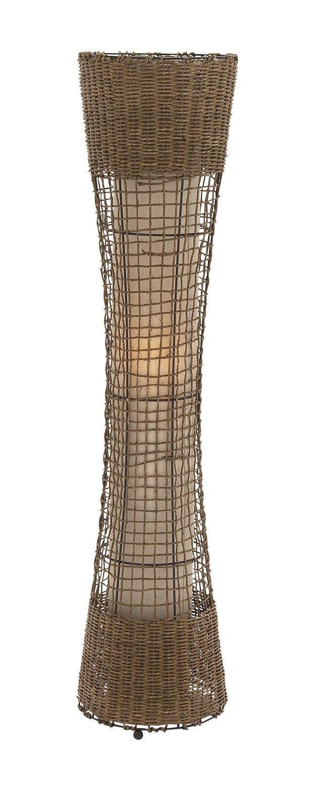 "Modern 48"" Tall Standing Metal Woven Rattan Floor Lamp Contemporary Natural"