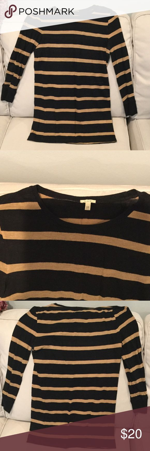 JCrew 3/4 Sleeve Top Classic camel and black stripe.  Viscose and wool blend give this a nice hand, it feels like a cross between a knit and a light sweater.  Somewhat sheer, so you may want to wear a cami under! J. Crew Sweaters Crew & Scoop Necks