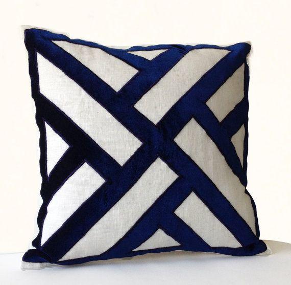 Ivory Linen Navy Blue Velvet Applique Pillow Cover by AmoreBeaute