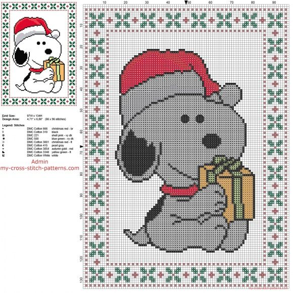 Snoopy Santa Claus free Christmas cross stitch pattern of ...