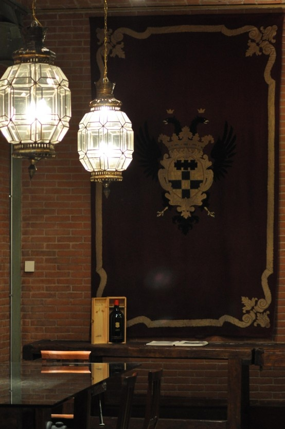 The flag and #beautifull lantern inside the wine cellar