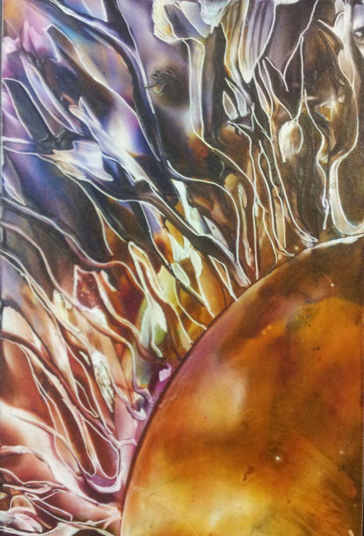Okanagan Artist Deb Crow  Created using the encaustic iron & metal scribe tool