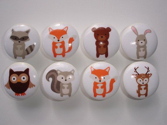 Woodland Animal Dresser Drawer Knobs Set of by DaisyBlueCatDesigns