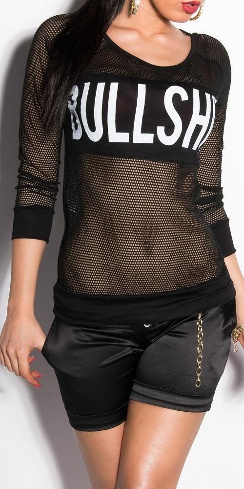 Camiseta para mujer sexy de red con estampado Veto negro