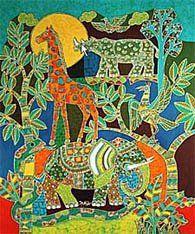 Batik by Mahyar - artisan batik panels by popular Indonesian artisan in modern batik colors and a variety of patterns at Artistic Artifacts