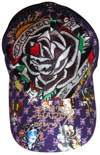 Men s Ed Hardy Hat Baseball Cap Dedicated to the One I Love Purple Ed Hardy 4d226f768a5f