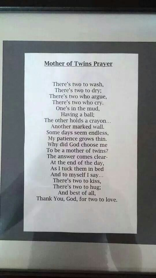 Mother of twins prayer. Cute for the nursery