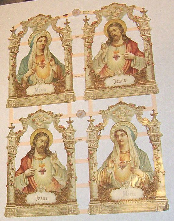 German Victorian Religious Christmas Easter Jesus Maria Mary diecuts scrap sheet collage card making embellishments trim ef 7366