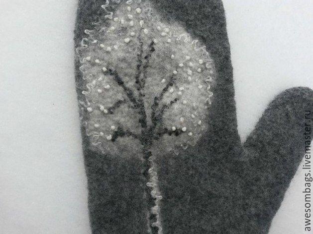 """Купить Валяные варежки """"Зимние деревья 2"""" - Валяние, Мокрое валяние, шерсть 100%"""