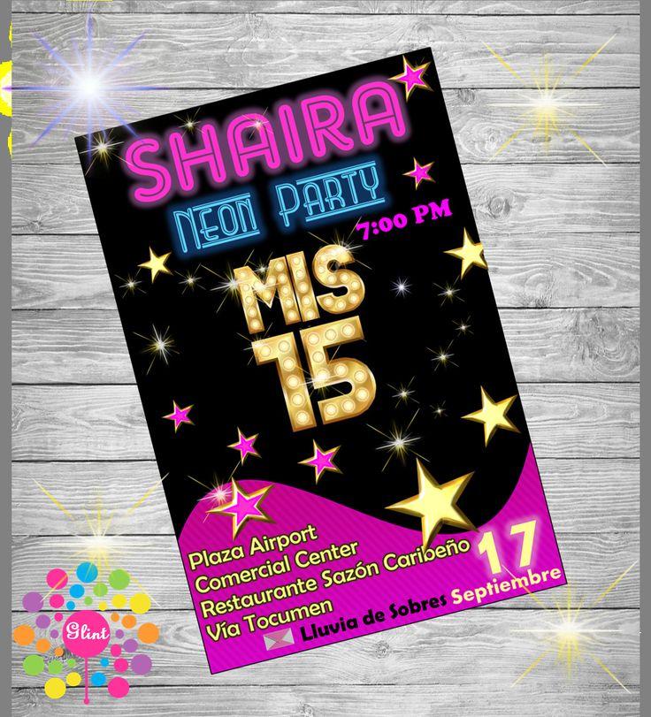 INVITACIÓN QUINCEAÑERA!! Neon Party!!!15 Años!!! de IdeasGlint en Etsy                                                                                                                                                                                 Más