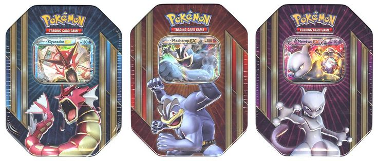 Pokemon Triple Power Tin (Set of 3) (Shiny Gyarados-EX, Mewtwo-EX & Machamp-EX) | DA Card World