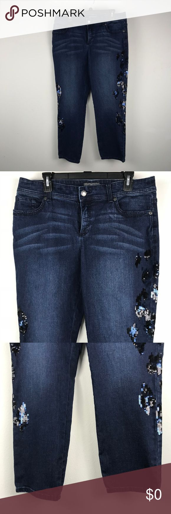 Chico's So Slimming Straight Cut Jeans Dark Sz 10 Brand: Chico's Buyer: Women Item: Jeans Material: Denim, Cotton Fit: So Slimming, Straight Cut Details: Dark wash, sequin Size: 1.5 - M 10 Color: Blue Condition: Excellent pre-owned condition, no flaws   Measurements: Waist Across Laying Flat: 17 inches Rise: 10 inches Inseam: 27.5 inches  Location: GG20 Weight: Flat Chico's Jeans Straight Leg