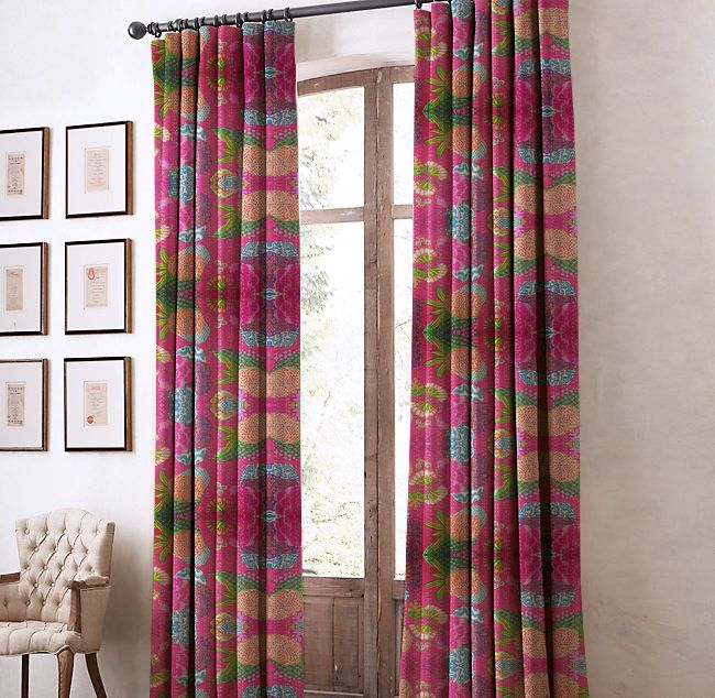 Fine Cotton Pink 7 Feet Eyelet Fruit Curtain Curtains Home