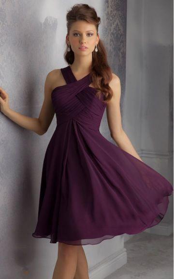 sku:zyh058; Silhouette:A-line; Hemline:Knee-length; Fabric:Chiffon; Back Details:Zipper; Neckline:V-neck; Waist:Natural; Colour:Grape; Sleeve Length:Sleeveless;