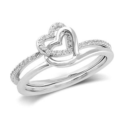 Fine Jewelry Personally Stackable 1/7 CT. T.W. Diamond Ring w/ Heart Charm hpbuDyFOn