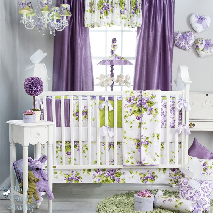 Glenna Jean Baby Girl Bright Purple Green Floral Crib Nursery Bedding Quilt Set | eBay