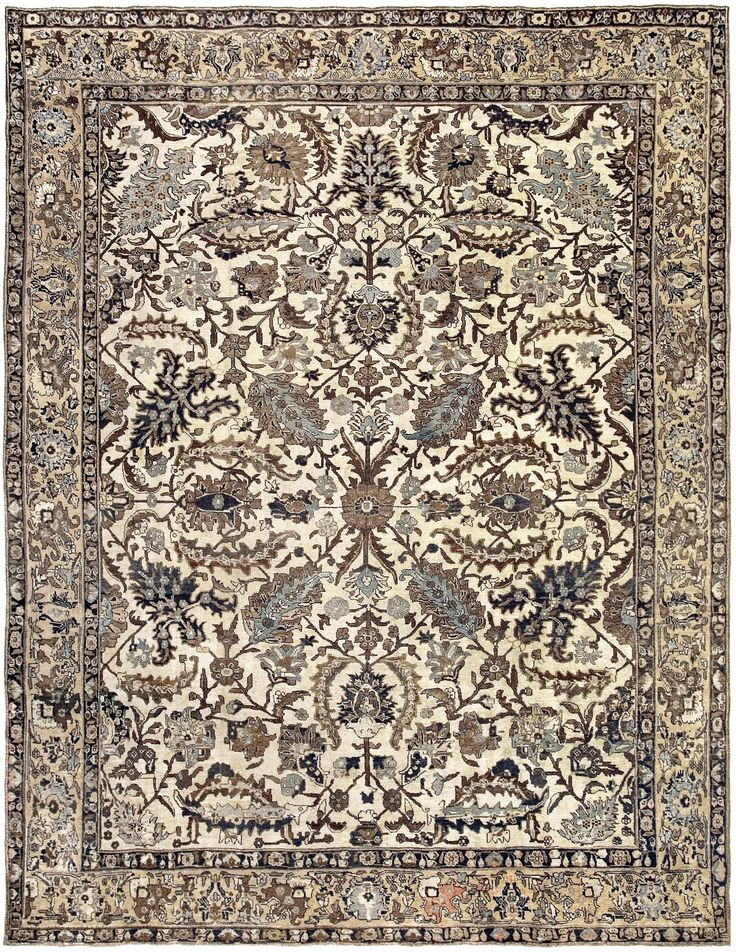 Antique Persian Meshad Rug Living Room