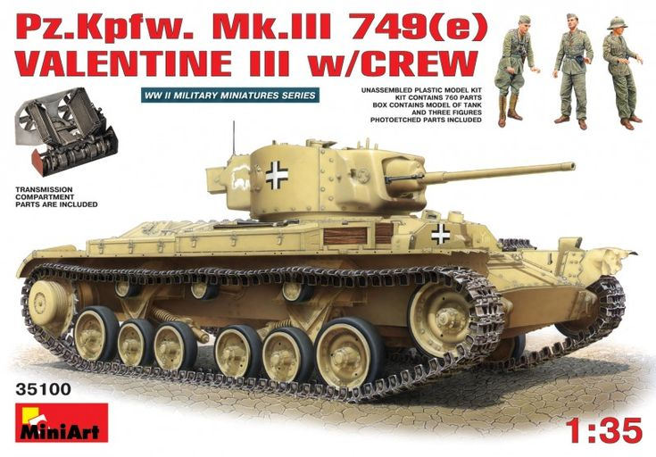 Pz.Kpfw. Mk.III 749(e) VALENTINE III w/CREW - MINIART 35100 - Maquette - English