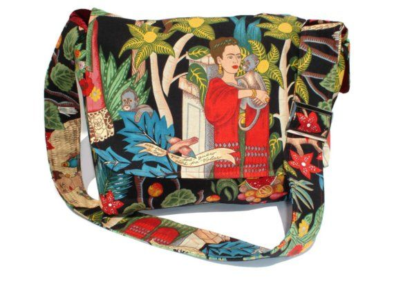 Black Frida Kahlo Messenger Bag