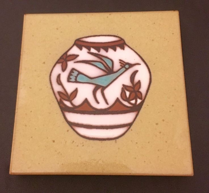 "Cleo Teissedre Tile Coaster Trivet Wall Hanging Southwestern 4"" Roadrunner    eBay"