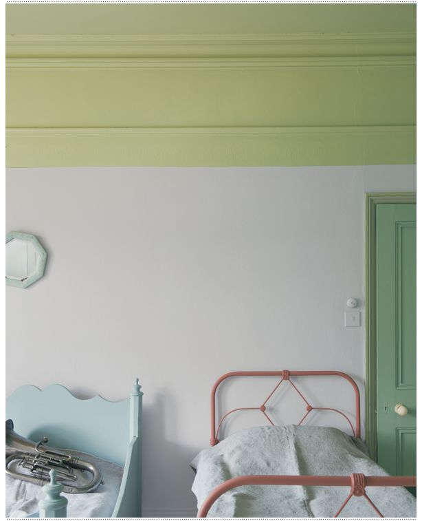 Wall: Calluna No.270 | Ceiling: Churlish Green No.251 | Door: Folly Green No.76 | Architrave: Cooking Apple Green No.32 | Left hand bed: Parma Gray No.27 | Right hand bed: Red Earth No.64