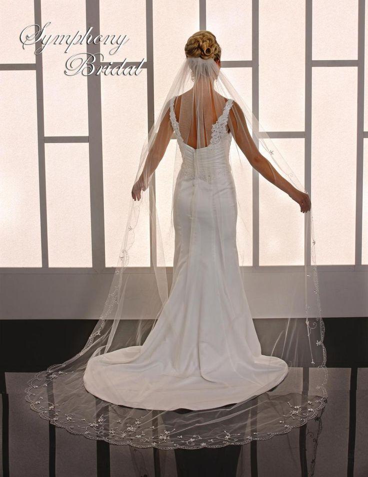 Beaded Edge Cathedral Length Wedding Veil Symphony Bridal 6767VL