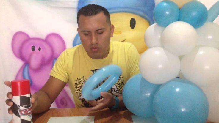 Angelito con globos para bautizo - decoración con globos - SP DECORACIONES