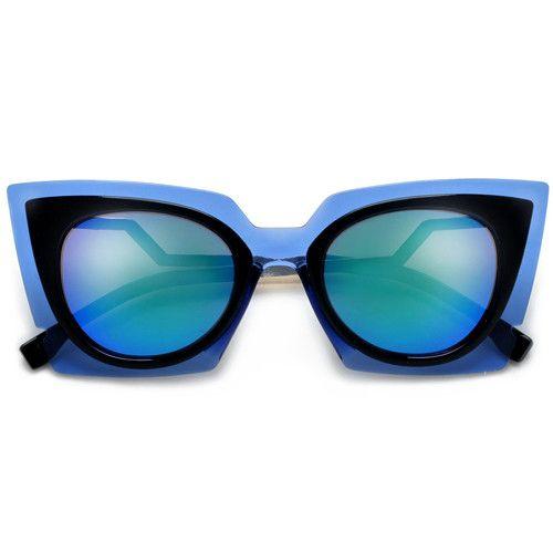 Vibrant Electric Glamour Angular Retro Cat Eye Silhouette Sunglasses