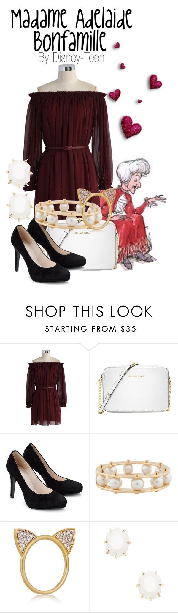 """Madame Adelaide Bonfamille"" by disney-teen ❤ liked on Polyvore featuring Chicwish, Michael Kors, Lele Sadoughi, Aamaya by Priyanka, Kendra Scott, disney, disneybound, disneyfashion and thearistocats"