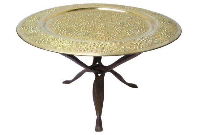 Brass & Teak Folding Table