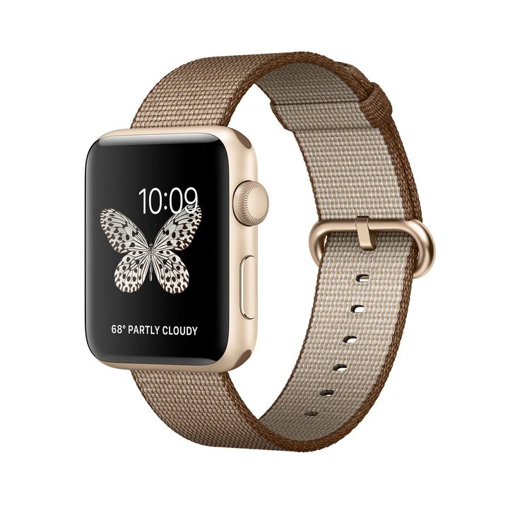 Introducing Apple Watch Series 2 featuring built-in GPS in a 42mm Gold Aluminium case with woven nylon strap. Pre-order yours on apple.com.