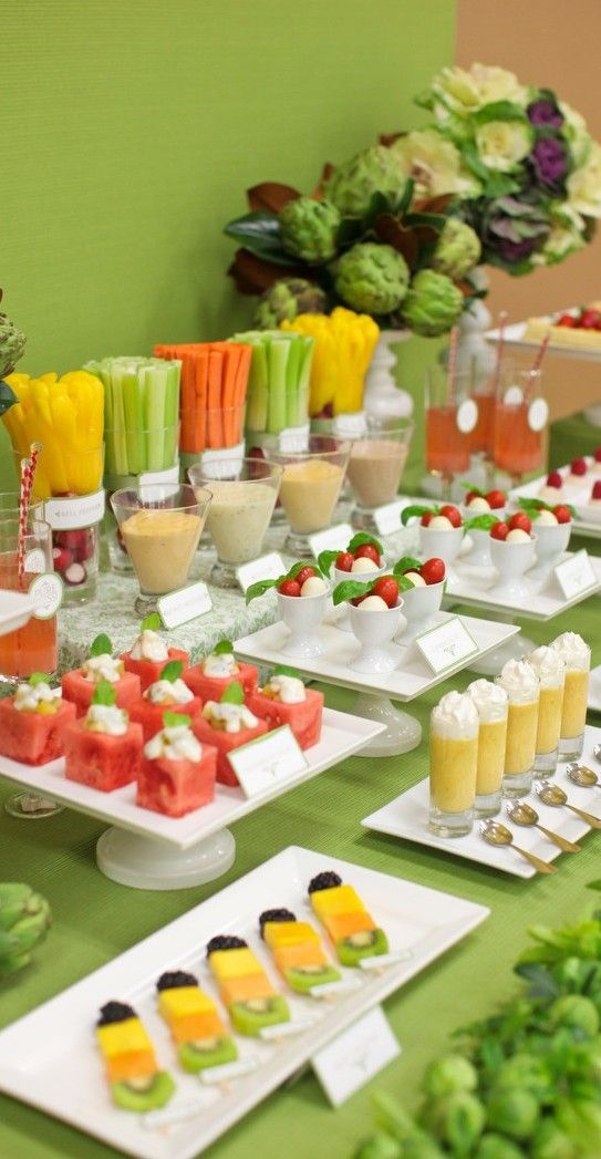 Fruit and veggie desert table.  Is that watermelon petifours? how awesome.