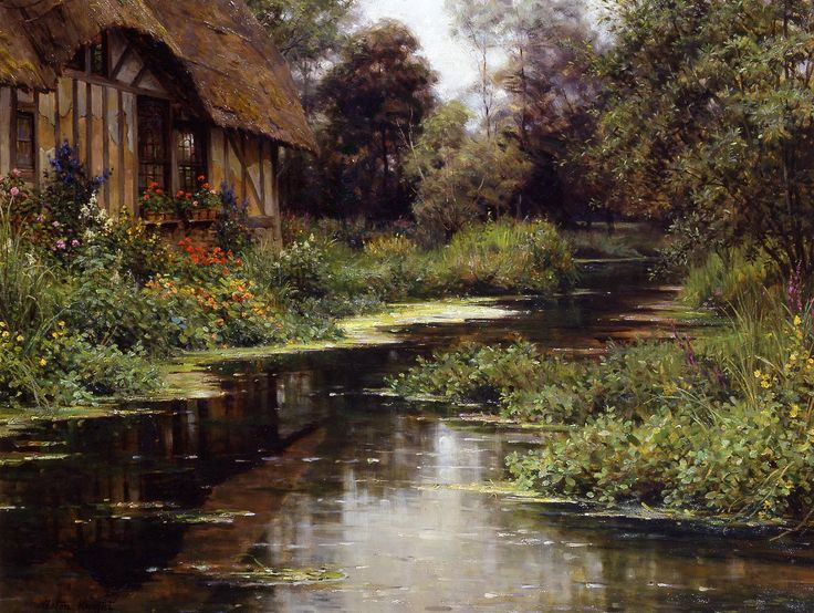 """Painting of the Day!  Louis Aston Knight (1873-1948) """"Summer Afternoon, Normandy"""" Oil on canvas To see more works by this artist please visit us at: http://www.artrenewal.org/pages/artwork.php?artworkid=1915&size=large"""