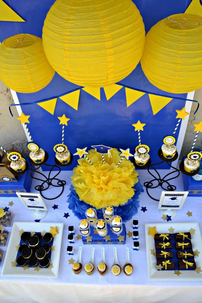 Blue And Yellow Bathroom Decor: Blue And Yellow Graduation/End Of School Party Ideas