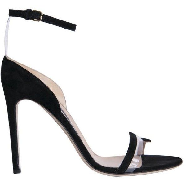 Sergio Rossi Karen suede sandals (€605) ❤ liked on Polyvore featuring shoes, sandals, black, black summer sandals, black high heel shoes, black strappy sandals, strappy sandals and strappy high heel sandals