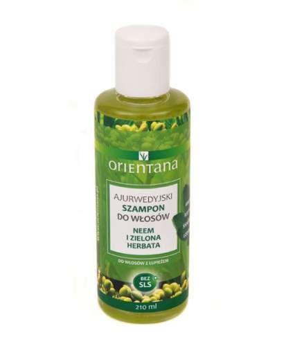 Orientana Neem i zielona herbata - Ajurwedyjski szampon do włosów. Naturalny szampon do włosów na bazie roślin indyjskich stworzony według formuły ajurwedyjskiej. Nie zawiera SLS/ SLES, silikonów, parabenów, ani innych szkodliwych substancji chemicznych. Nie plącze włosów, nawilża je i odżywia. Do włosów cieńkich i delikatnych.