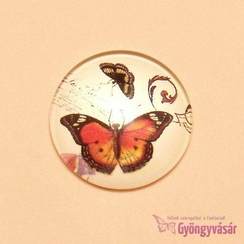 Pillangó mintás, 25 mm-es üveglencse
