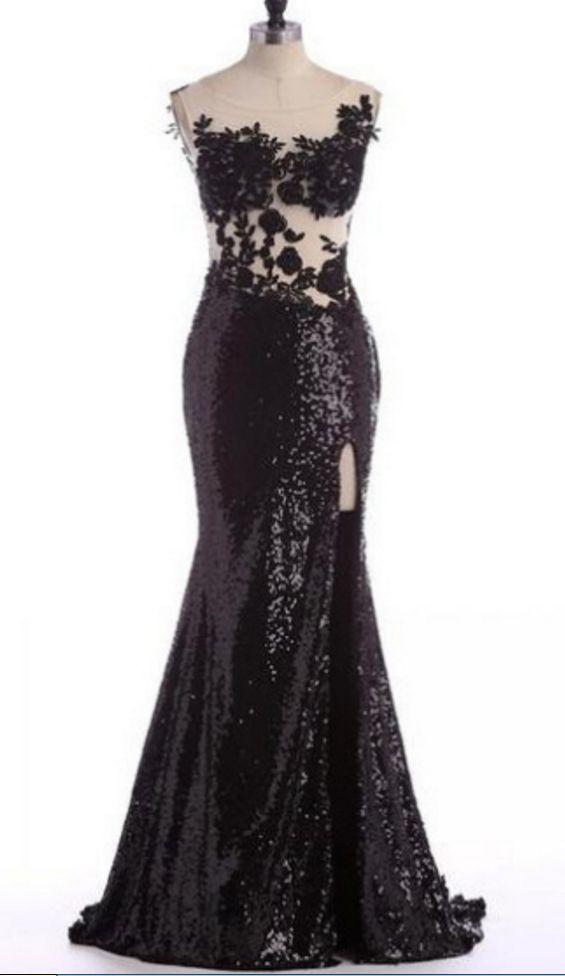 Black Long Appliques Mermaid Sweetheart Sequins Prom Dresses