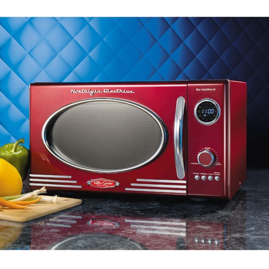 Retro Style Red Microwave Oven.