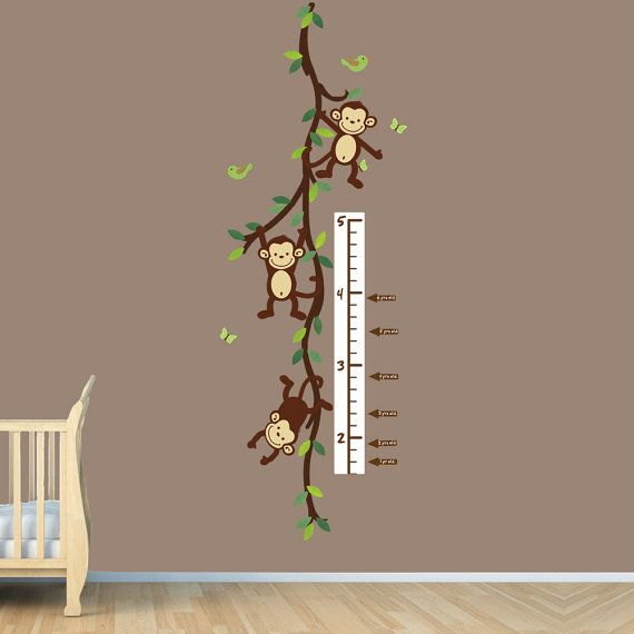 monkey wall decal growth chart swinging monkeys on vines
