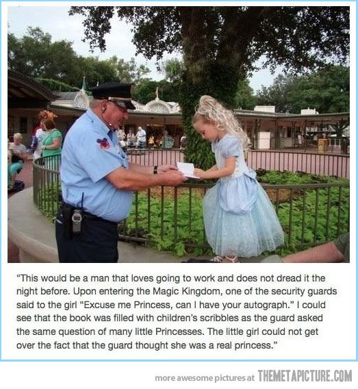 A man who still believes in magic… :'): Little Girls, Disney World, Faith In Human, Magic Kingdom, This Men, Real Princesses, Human Restoration, So Sweet, Security Guard