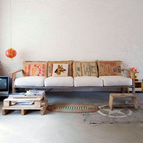 "love the coffee bean bag pillow covers and palette accents. ""I'm Loving: White Brick Walls"""