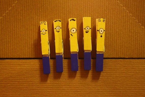 Minion clothespin by busybeestitchery on etsy for Minion clothespins