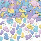 Konfetti w kształcie małych stópek nada się i na baby shower, i na roczek :)