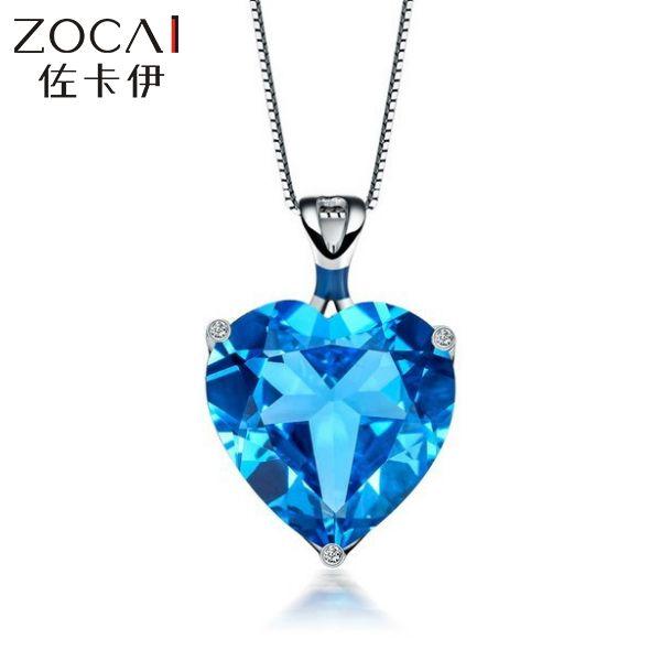 Zocai бренд аврора 7 СТ сертифицированный синий топаз в форме сердца алмаз 9 К белый золотой кулон + 925 серебряная цепочка ожерелье