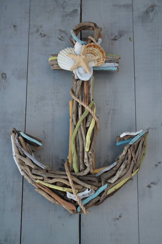 Driftwood Anchor with Seashells by My Honeypickles on Etsy