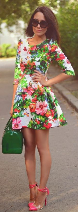 Sheinside Multi Coloured Vintage Colorblocking Floral 3/4 Sleeve Pleated Mini Dress by J'adore Fashion