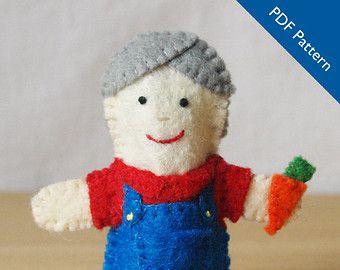 Old McDonald finger puppet pattern, felt finger puppet pattern, Old McDonald felt finger puppet, sewing pattern