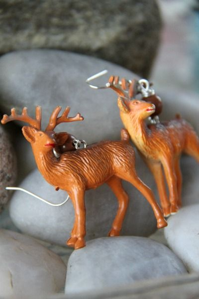OOAK Vintage Deer Earrings by FHS / Funky Homo sapiens - Earrings - Fish Hooks / Funky Homo sapiens