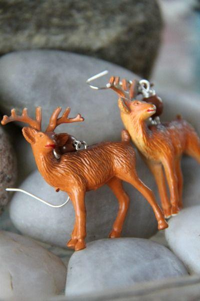 OOAK Vintage Deer Earrings by FHS / Funky Homo sapiens - Earrings - Fish Hooks / Funky Homo sapiens